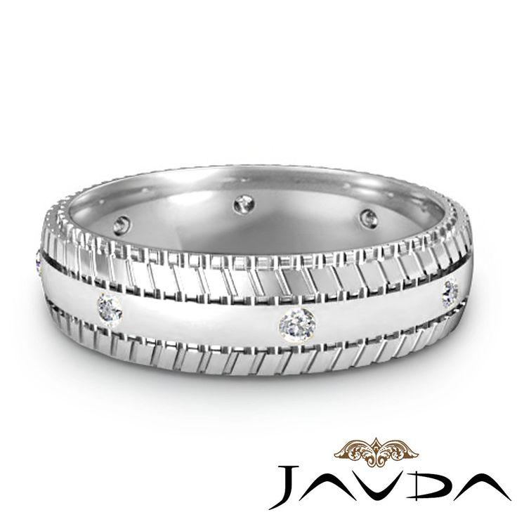 Bezel Round Diamond Mens Eternity Ring Wedding Facinating Band Platinum 0 16ct | eBay