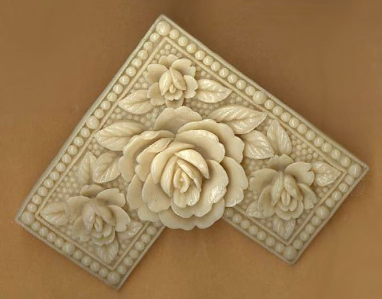 vintage carved celluloid finding flower shape by beadtopiavintage, $7.50