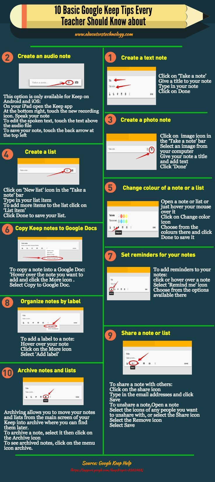 10 Basic Google Keep Tips Every Teacher Should Know about (Infographic) ~ Educat…
