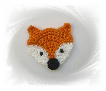 gehäkelter Fuchs Kopf, Häkelapplikation Applikation Aufnäher, crochet fox, Fuchs Applikation