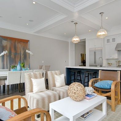 """by Cardea Building Co.  """"Considered an off-white color by Benjamin Moore, Balboa Mist OC-27 is a lovely option for a very light gray paint."""""""