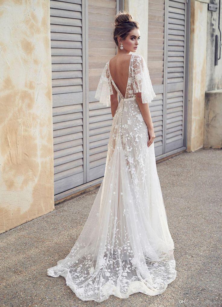 Sexy Backless Beach Boho Lace Wedding Dresses A Line New 2019 Appliques Cheap Ha