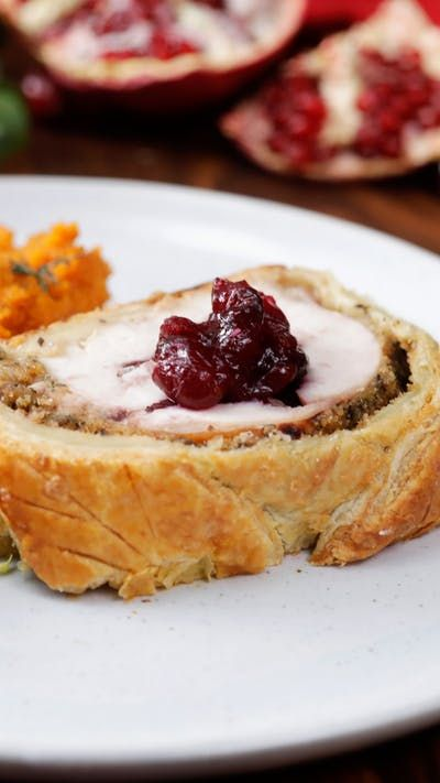 A moist turkey breast stuffed with cranberry jam and wrapped in puffed pastry makes for one great holiday entree.