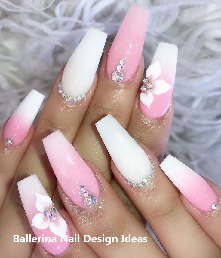 Pink And White Coffin Nails White Acrylic Nails Pink Ombre Nails Rhinestone Nails