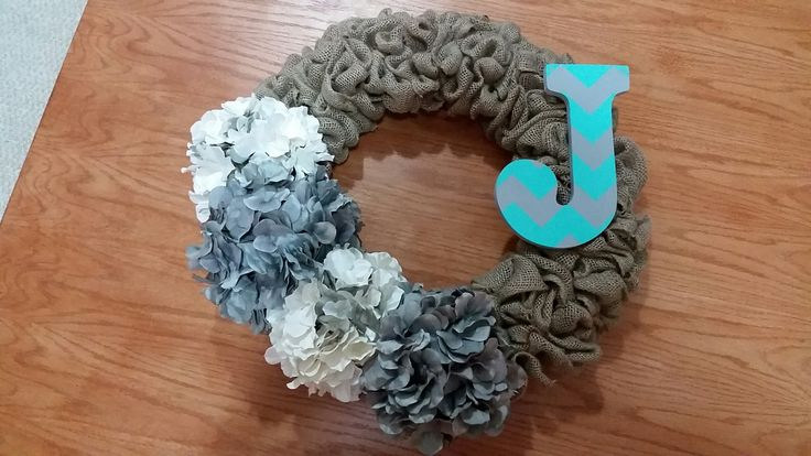 Burlap Wreath with Chevron Monogram and Flowers #burlap #wreath #wreathideas #monogram #flowers #chevron #goldenforrestcreations