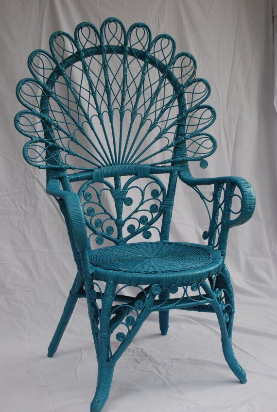 Vintage Turquoise Wicker Peacock Chair