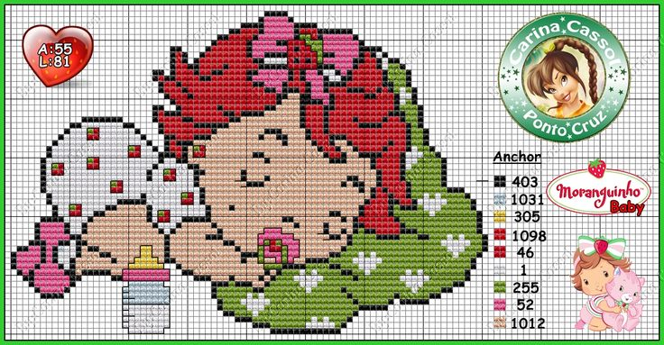 Baby Strawberry Shortcake perler bead pattern by Carina Cassol - http://carinacassol.blogspot.com.br/