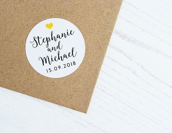 Custom Wedding Stickers Bride Groom Names Date Heart Envelope Seals 40mm / Wedding Favor by Azmari