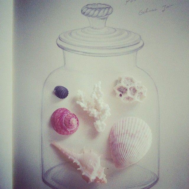 What can I put in this #glass #jar ? #drawing #anasucre #유리병 안에 무엇을 넣어볼까요? #그림놀이 #드로잉북 #조개껍질 #아나수크레