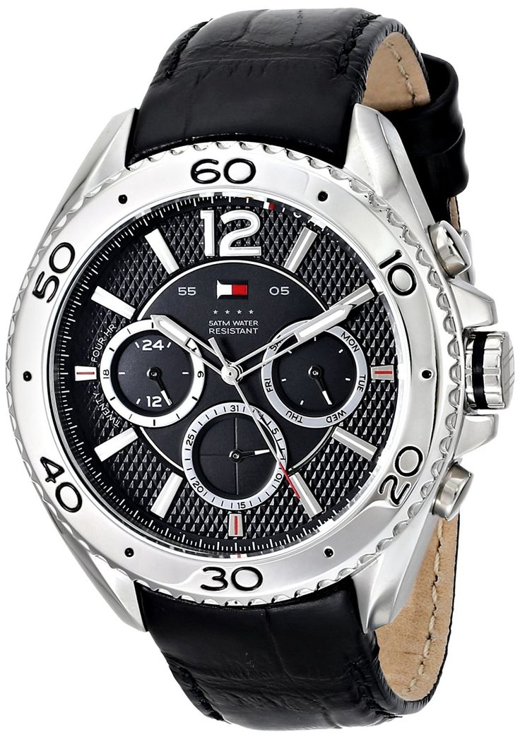 Tommy Hilfiger Men's 1791029 Stainless Steel Watch with Black Leather Band >>> Read more at the image link.