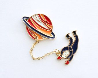 Astronaut in Space Enamel Pin   Lapel Pin   Brooch   Planet, Space, Astronaut, Man in Space