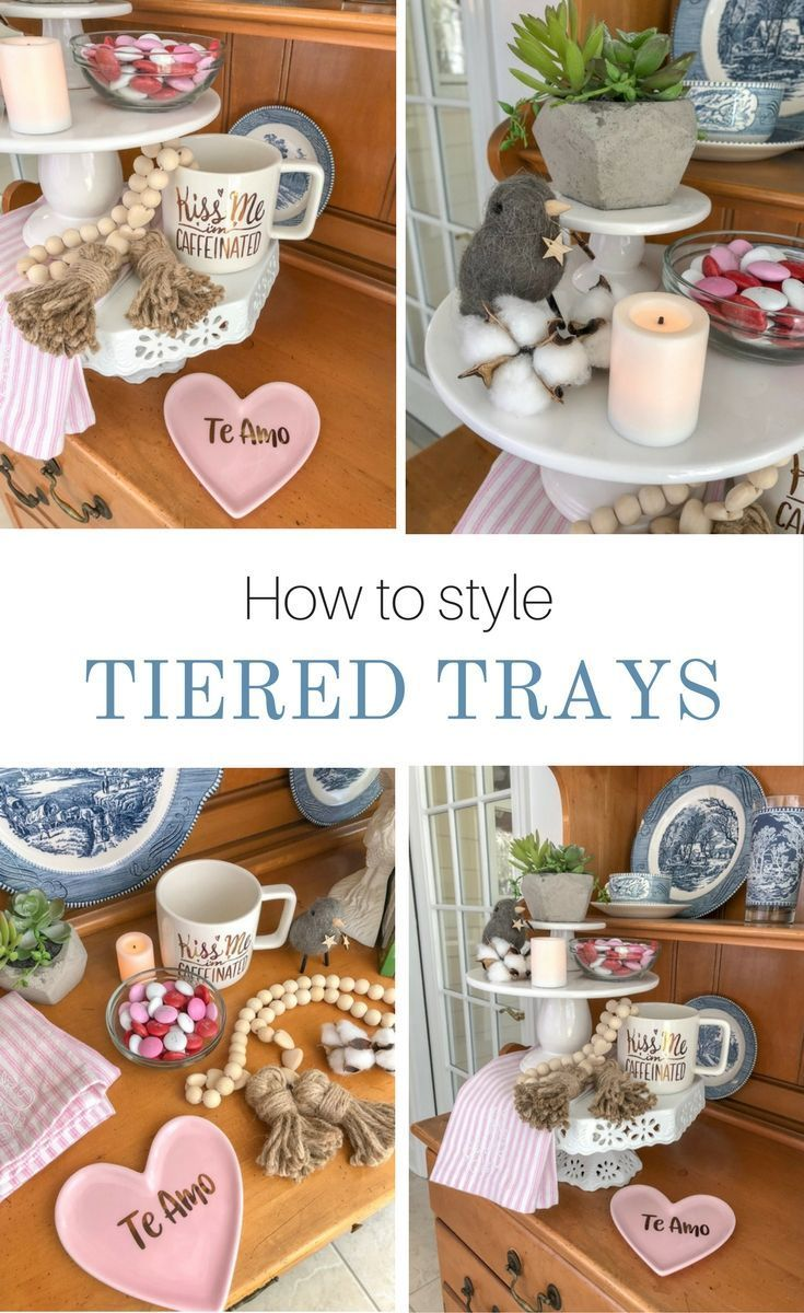 Tiered trays are so popular right now and make a fun addition to any home.  Here are some DIY tips and ideas on how to create your own tiered tray to accent your decorations.  It would be great as a rustic farmhouse centerpiece, buffet, coffee stand, party, dessert, Rae Dunn, food, candy, fall, spring, summer, winter or just holiday accessories.  Style it in the kitchen, bathroom, bedroom, bar, and any room in your home. Tiered trays come in galvanized, wood or cake stands in white ceramic.