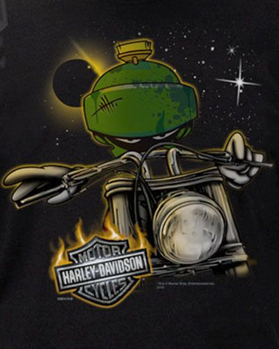 Harley-Davidson Looney Tunes Mens Marvin the Martian Space Alien Black T-Shirt #HarleyDavidson #GraphicTee