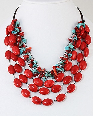Handmade Cotton waxed thread Necklace, Beaded with Howlite, Turquiose and Coral