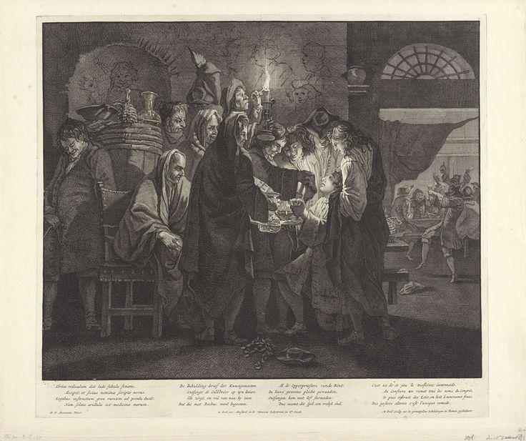Matthijs Pool | Inwijding van een nieuwe Bentvueghel, ca. 1700, Matthijs Pool, 1690 - 1710 | Inwijding van een nieuwe Bentvueghel, ca. 1700. Te midden van de groepsleden wordt in het duister een nieuw lid van de bentvogels, de groep van Nederlandse kunstenaars in Rome, met een ceremonie ingewijd met het knielend overhandigen van de bentbrief en de doop met wijn. Met getekende karikaturen aan de muur, op de achtergrond een drinkgelag.