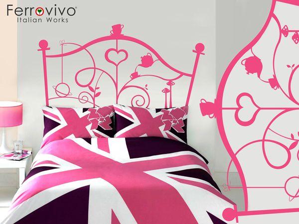 testata letto rosa