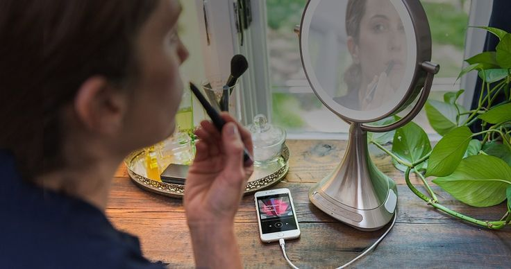 iHome Vanity Speaker Mirror - Everyone needs a top-quality vanity mirror. But here's a twist for the modern woman. iHome has created a first-of-its kind vanity mirror with built-in Bluetooth Technology. This is a 9-inch mirror with 7x magnification and full spectrum color lighting, so everyone will look their best in any setting. $150.00 #iHome #Mirror