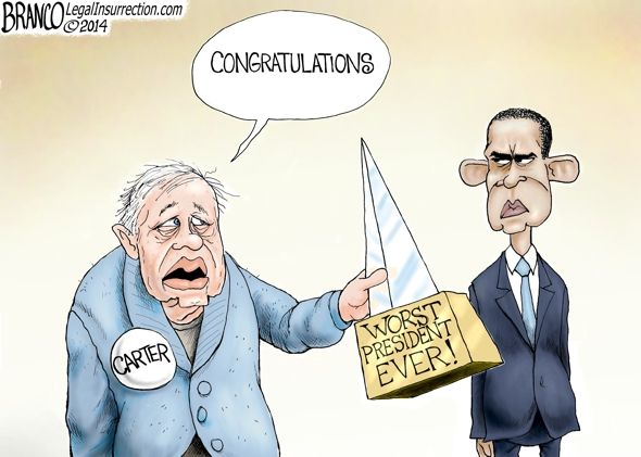 Carter passes the award to Obama for worst president ever. Political cartoon by A.F.Branco ©2014