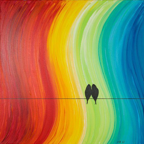 Original grand acrylique abstrait peinture oiseaux d'amour sur le fil « The Promise » par QIQIGALLERY