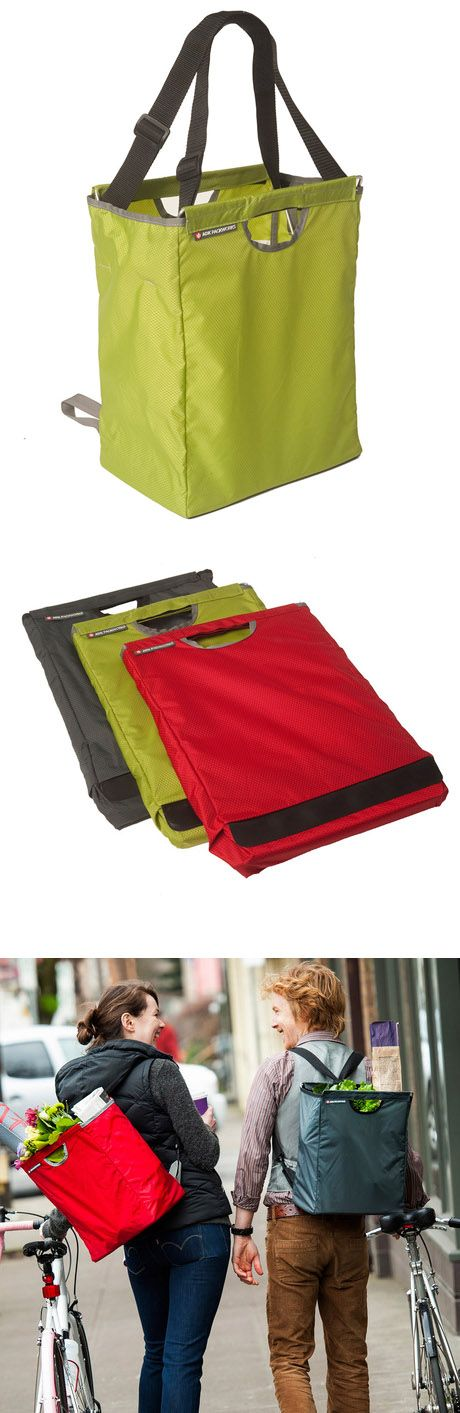 Convertible Grocery Bag - use as a bag or backpack, stores flat - this would make one-tripping easier!!!
