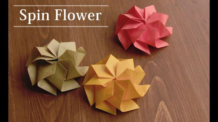 折り紙1枚で作る、お花の折り方。スピンフラワー 【Origami Flower】                                                                                                                                                                                 More