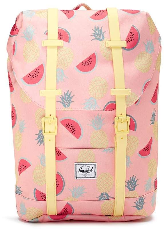eb2a4cafee7 The Herschel Supply Co. Brand  Retreat  fruit print canvas 14L kids backpack   ample compartments hold