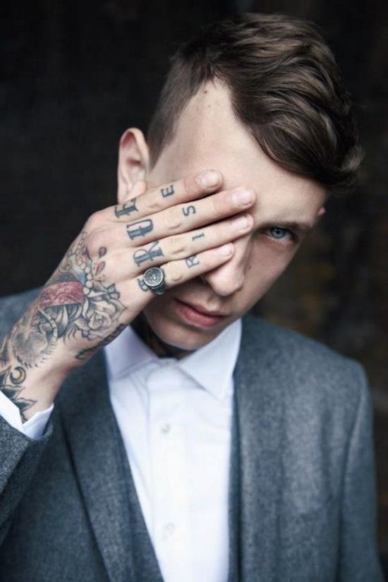 #tattoo hair model closeup slate blue 3 piece suit white shirt