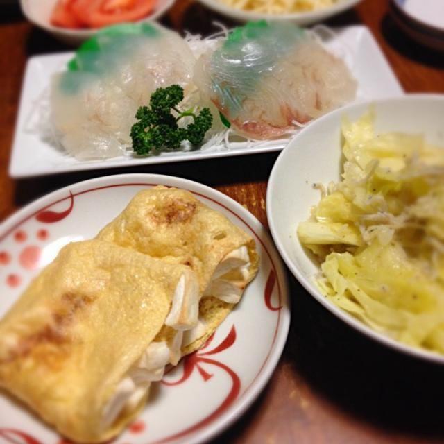 はんぺんが大好きだったことを思い出す。 - 12件のもぐもぐ - はんぺん包み焼き、キャベツとシラス炒め、ヒラメ刺身、ジャガイモ明太子あえ by raku0dar