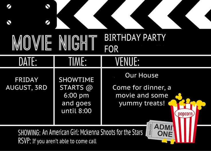 Cool Black and White Movie Themed Birthday Party Invitation Design with Noticeable Popcorn Image At The Corner -