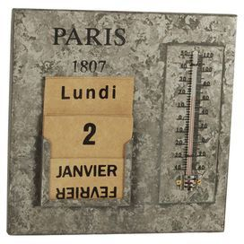 Combining style and function, this striking metal calendar features thermometer detailing. Mount in your kitchen or hallway to infuse your scheme with industrial appeal.   Product: Thermometer and calendarConstruction Material: MetalColour: Grey  Features: French date, day and month inserts included Distressed finish   Dimensions: 26 cm H x 15 cm W x 7  cm D