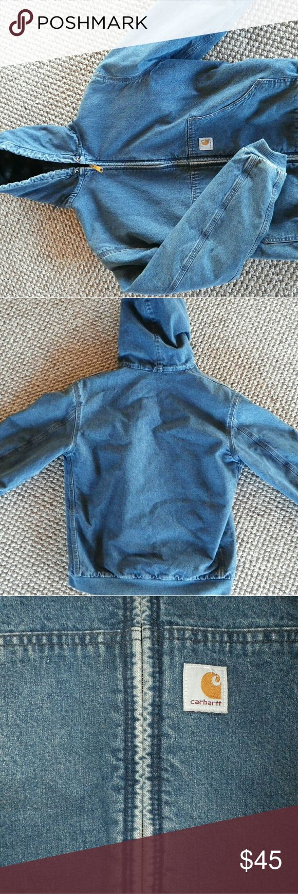 Denim Carhartt Insulated Jacket Boys size XL which fits a women's size sm/med.  In very good condition.  Perfect for outdoor work.  Zips up.  Lined. Carhartt Jackets & Coats Utility Jackets
