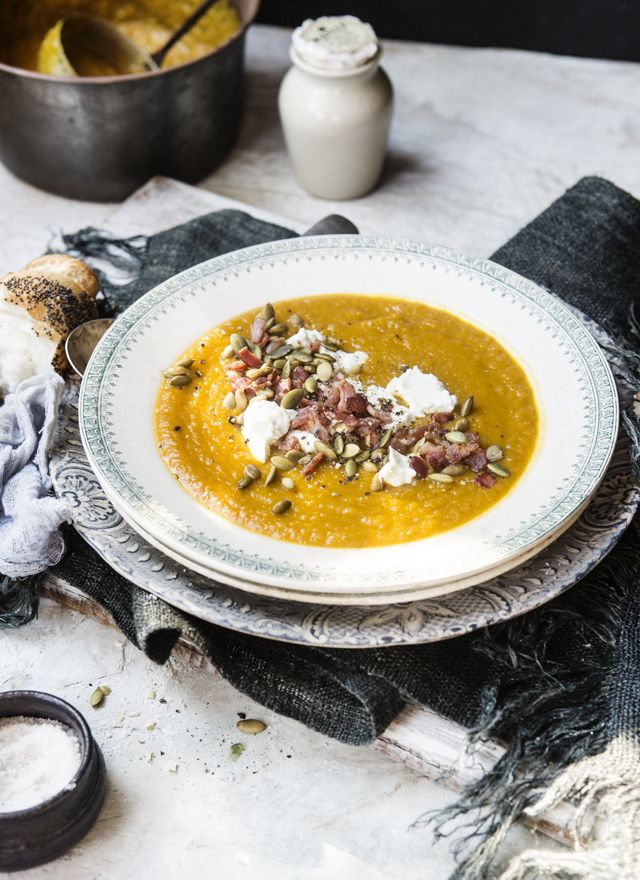 Roasted pumpkin & apple soup with goat's cheese and bacon