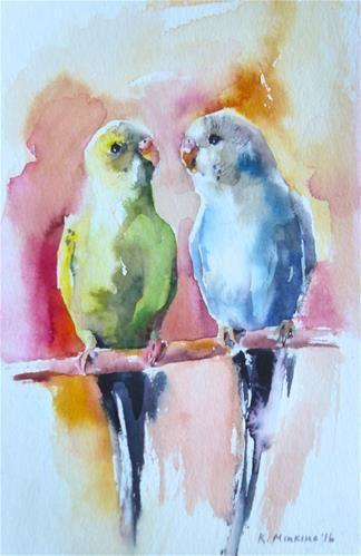 "Daily+Paintworks+-+""budgie18″+-+Original+Fine+Art+for+Sale+-+©+Katya+Minkina"