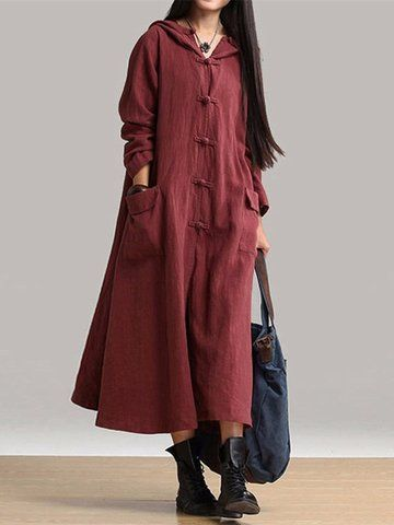 Mulheres Vintage Placa Buckles manga comprida com capuz Long Maxi Dresses