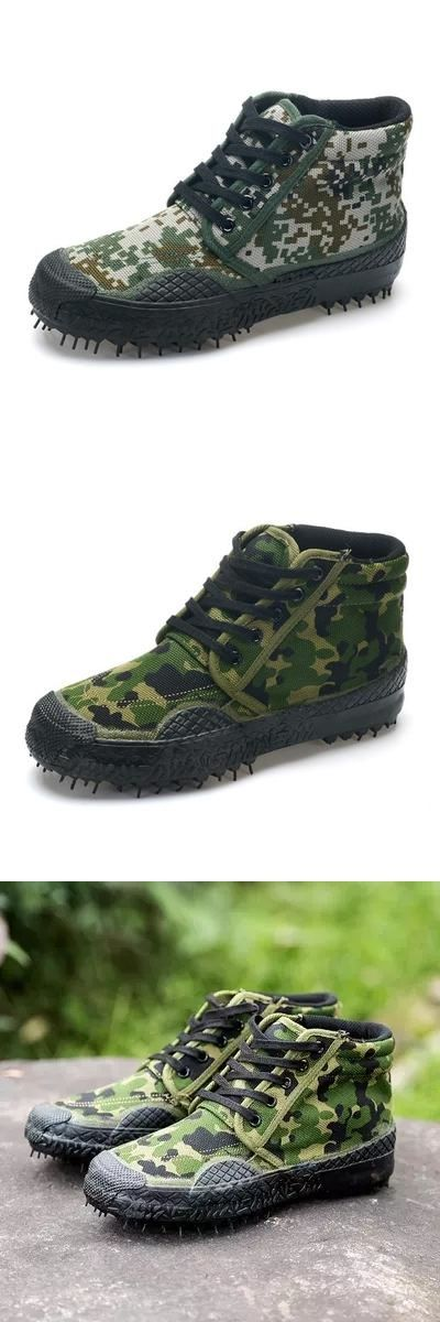 2016 Trendy Combat Boots Camouflage Military Tactical Canvas Boots Sale Army Green Outdoor Working shoe Big size 45 46 X081903
