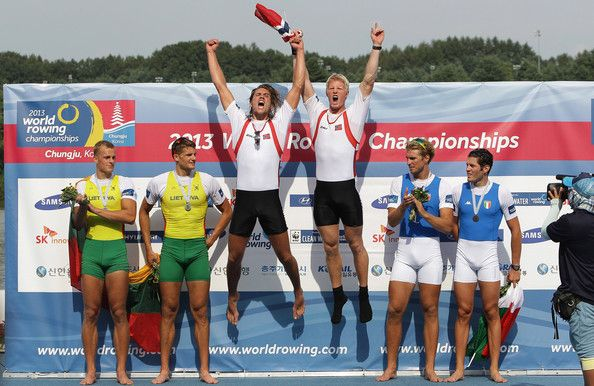 Nils Jakob Hoff and Kjetil Borch of Norway celebrate winning gold medals in the Men's Double Sculls final during day eight of the 2013 World Rowing Championships on September 1, 2013 in Chungju, South Korea.