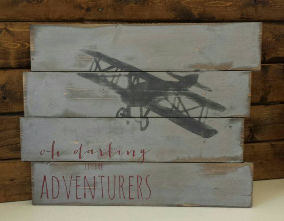 Vintage airplane decor  Reclaimed wood wall art  by TinHatDesigns