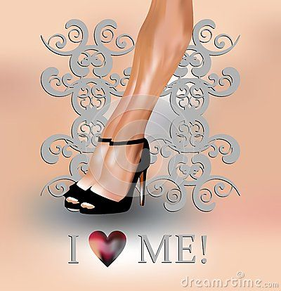 Sexy female legs with I love me concept on grey baroque background.