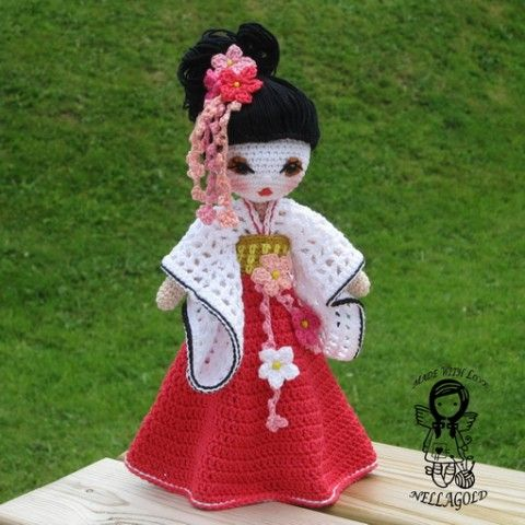 Háčkovaná panenka, Gejša královna princezna holčička holka gejša popis návod háčkovaná hračka postup návod na háčkování háčkovaná panenka háčkované návody nellagold instrukce