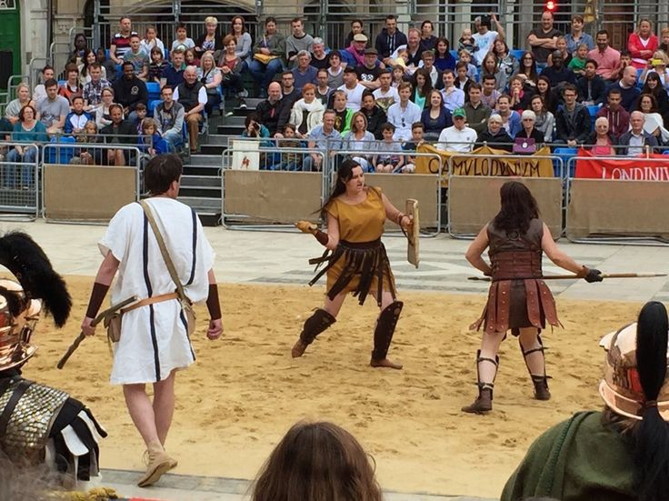 Gladiatrices (girl gladiators) fight at the Museum of London sponsored Gladiator Games on Sunday 16 August 2015. Living actors supplied by Britannia. https://www.facebook.com/pages/Britannia-News/118195358224681