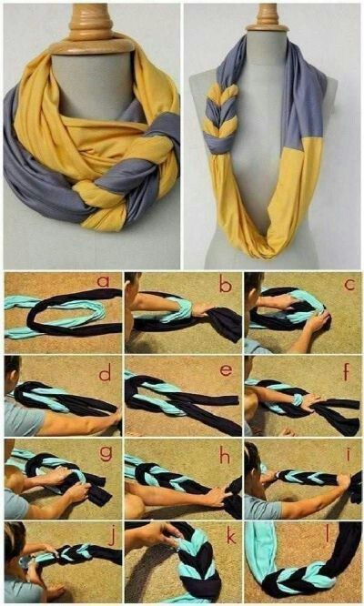 DIY scarf made from old t-shirts-just cut off the bottom.  Martha had this on her show.