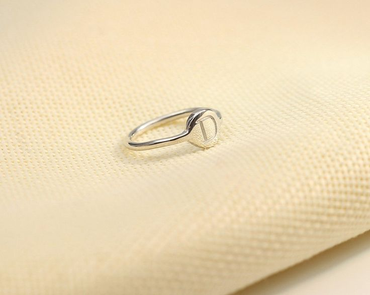 Engraved Dainty Single Initial Ring Silver