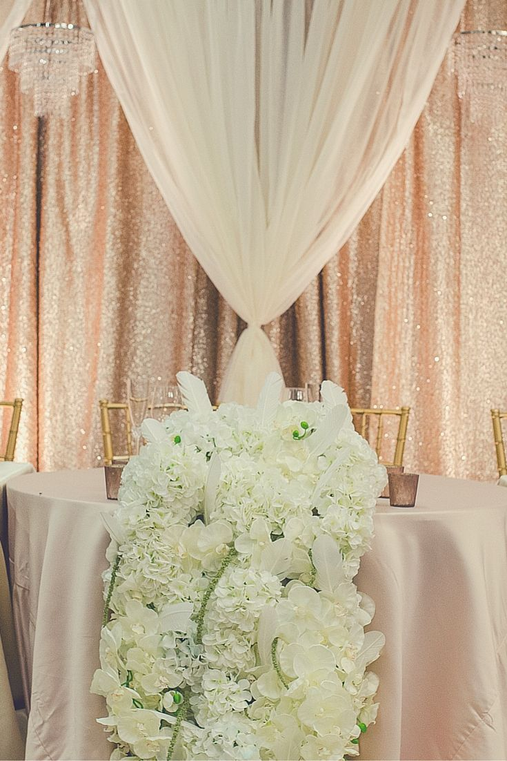Blush Gold Sequin And Ivory Sheer Backdrop Backdrops