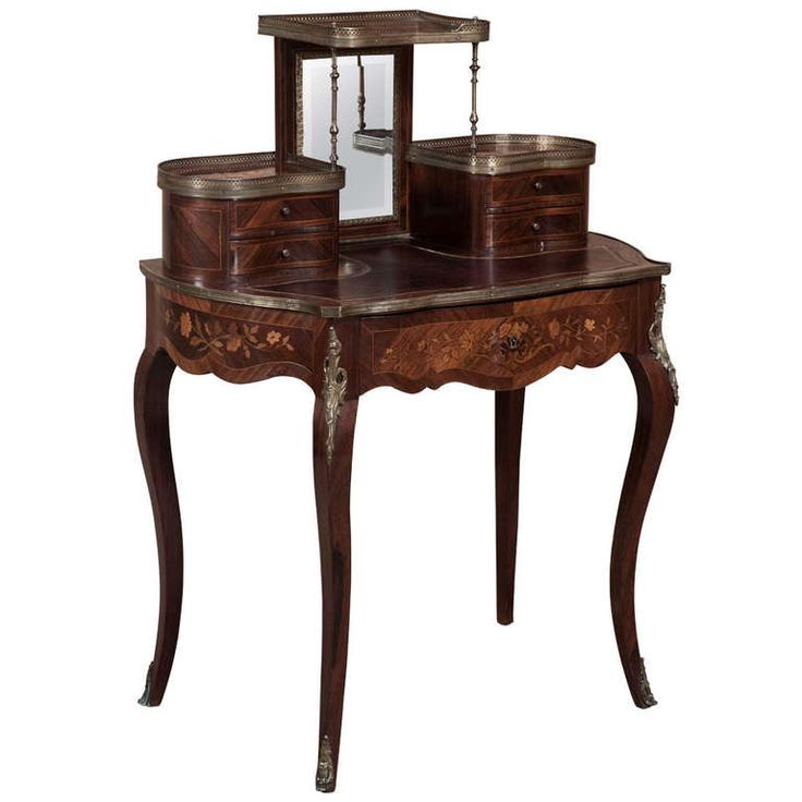 19th Century French Louis XV Marquetry Vanity Desk   SALE  804 best French antique furniture images on Pinterest   Antique  . Louis Xvi Style Furniture For Sale. Home Design Ideas