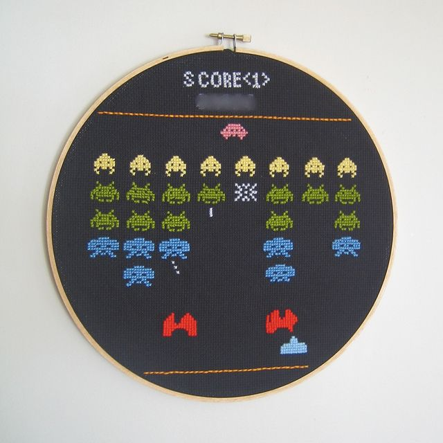 Space Invaders cross-stitch. Love!