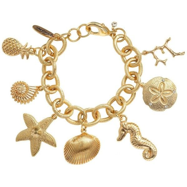 Lilly Pulitzer for Target Women's Charm Bracelet Gold ($20) ❤ liked on Polyvore featuring jewelry, bracelets, white gold bangle, gold bangles, white gold jewelry, gold charm bracelet and beach charms