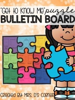 "Are you looking for a creative bulletin board that brings your class together? Need something for your students to showcase during Open House or Back to School Night? This ""Get to Know Me"" Puzzle Bulletin Board is the perfect addition to your classroom!How do I put it together?- The original puzzle has 9 pieces."