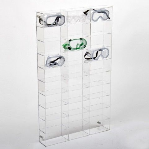 Clear Acrylic Safety Goggle Display Wall Mounting Designed And Manufactured In The UK