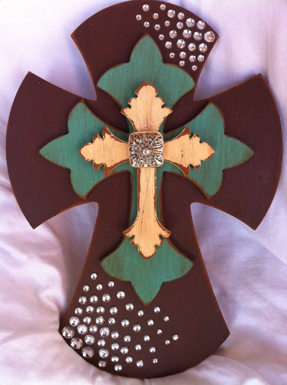 Western Style Layered Wooden Cross  Turquoise  Bling by RaeOfFaith, $28.50
