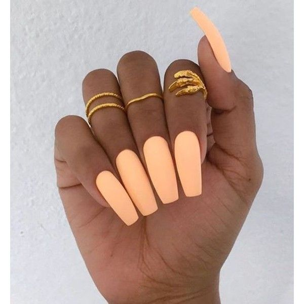 orange neon nails ❤ liked on Polyvore featuring beauty products, nail care and nails